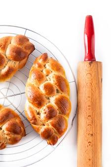 Homemade food concept fresh baked bread braid challah dough
