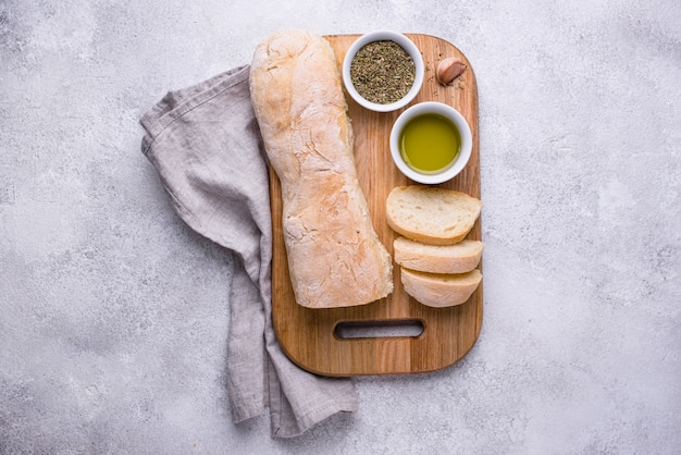 Homemade french baguettes with olive oil