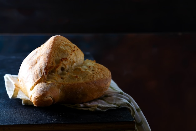 Homemade french bread with a napkin