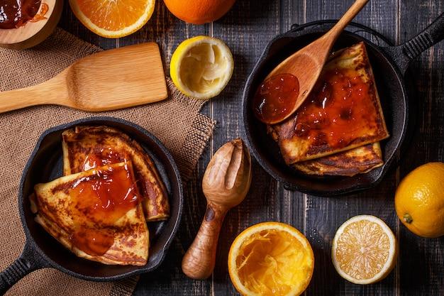 Домашние французские блины с апельсиновым сиропом