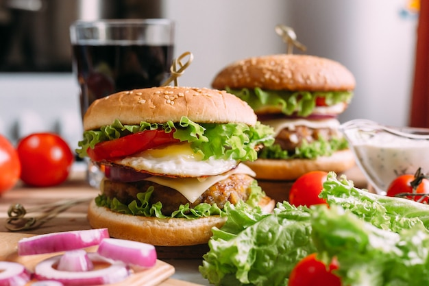 Homemade fresh tasty burger with lettuce and cheese