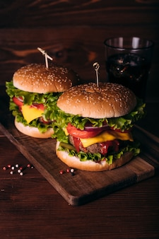 Homemade fresh tasty burgers with lettuce and cheese