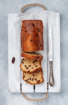 Homemade freshly baked cake loaf with raisins