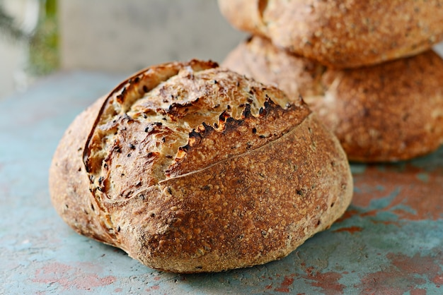 Homemade freshly baked country bread  made from wheat and whole grain flour