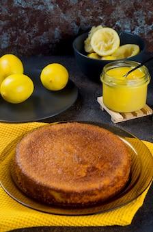 Homemade freshly baked sponge cake on plate