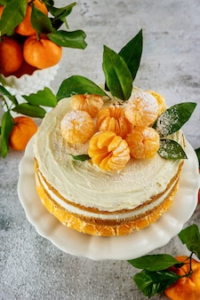Homemade fruit cake with fresh mandarin. close up.