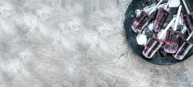 Homemade fruit ice cream with mulberry on a concrete background.