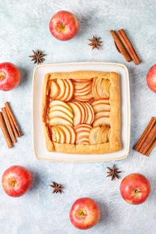 Homemade galette with apples and cinnamon.