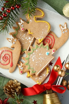 Homemade gingerbread cookies with icing. different animal shapes