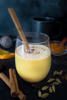 Homemade golden milk antiinflammatory drink
