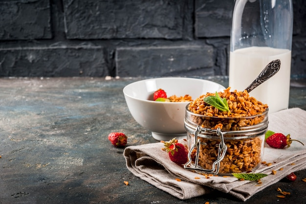 Homemade granola from mix of cereals with with strawberry