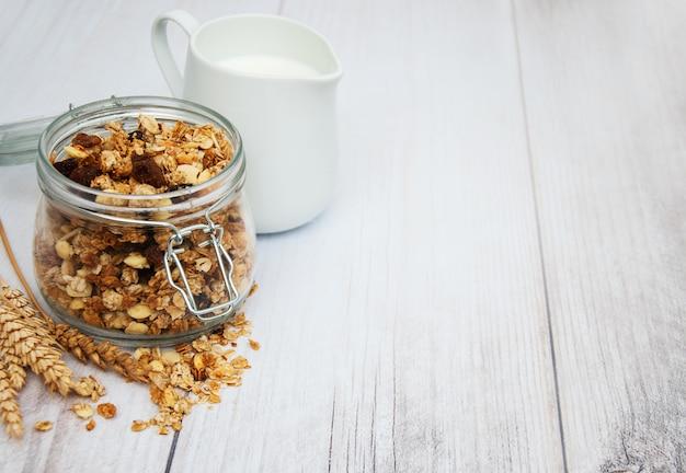 Homemade granola in jar