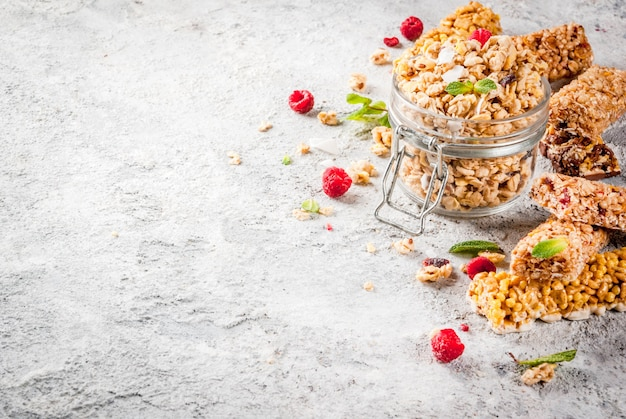 Homemade granola with berries and mint