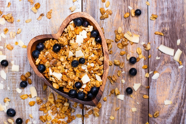 Homemade granola with coconut chips and blueberry