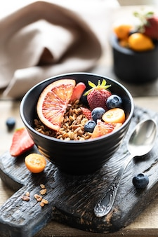 Homemade granola with fresh berries