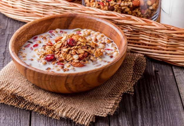Homemade granola with milk, berries, seeds and nuts