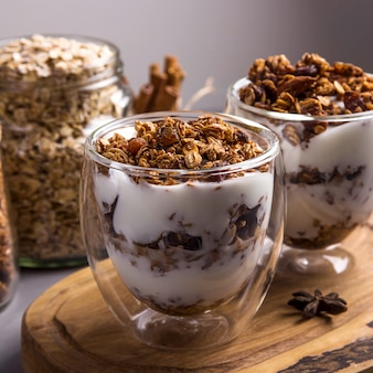Домашняя мюсли с орехами и сухофруктами и шоколадом на завтрак