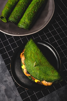 Homemade green spinach crepes