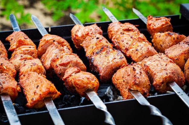 야외 오픈 그릴에 직접 구운 돼지 고기 케밥. 야외 음식 축제.