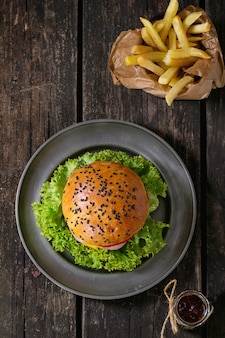 Homemade hamburger with french fries