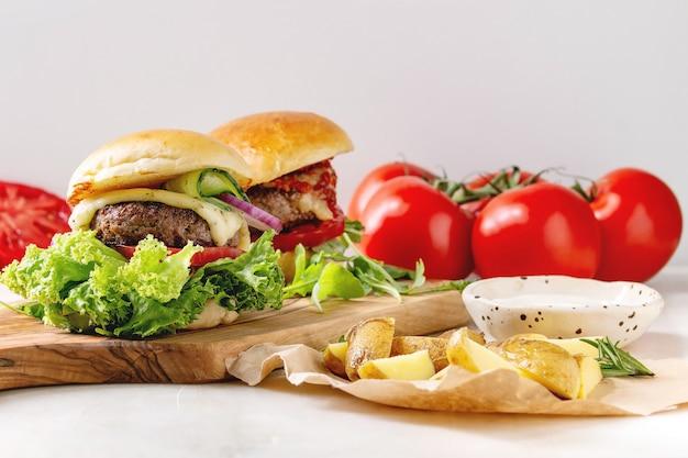 Homemade hamburgers with beef