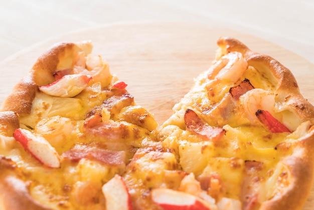 Homemade hawaiian seafood pizza
