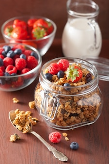 Homemade healthy granola in glass jar and berries