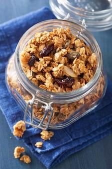 Homemade healthy granola in glass jar