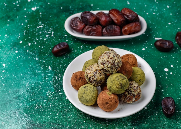 Homemade healthy vegan raw energy truffle balls with dates and walnuts