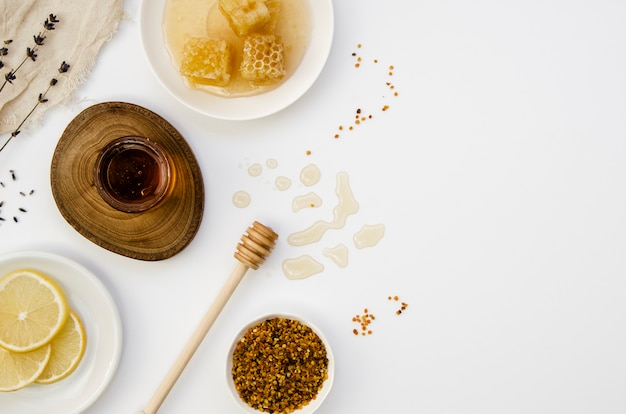 Homemade honey with copy space