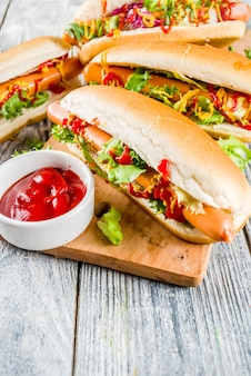 Homemade hot dogs with sauces