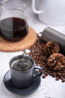 Homemade hot fresh coffee in a morning at home. drip brewing, filtered coffee or pour-over.