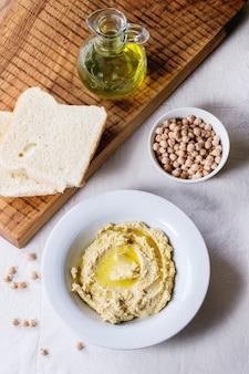 Homemade hummus on a plate