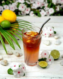 Homemade ice tea with citrus