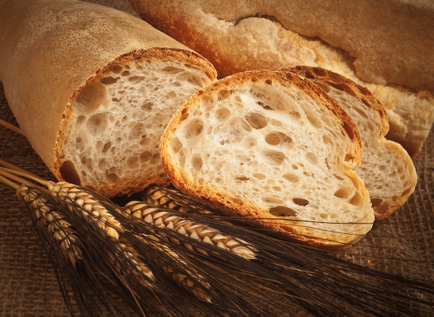 Homemade italian bread with ears of wheat