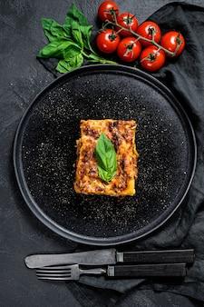 Homemade italian lasagna with tomato sauce and beef