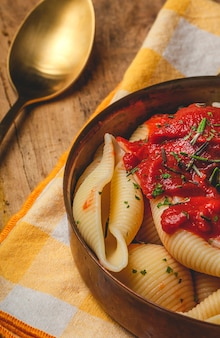 Homemade italian pasta with tomato sauce