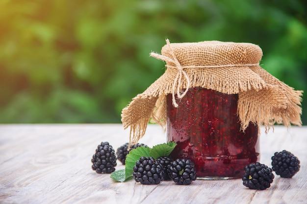 Homemade jam with blackberry. preparation. selective focus.