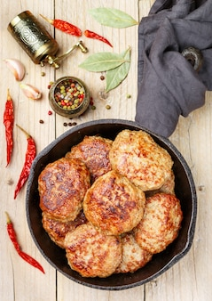Homemade juicy fried meat cutlets (beef, pork, chicken, turkey)