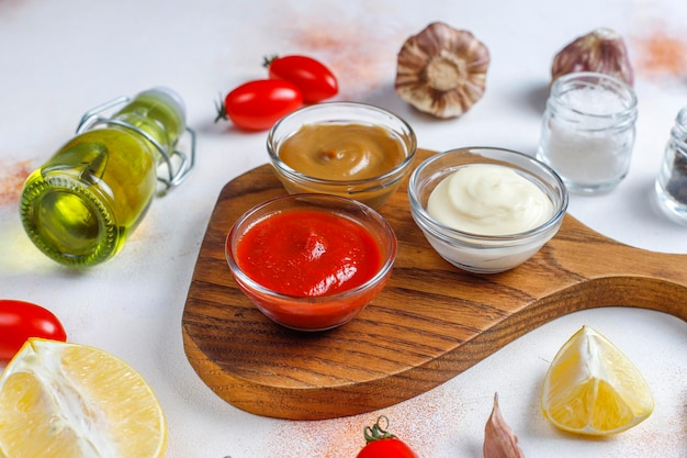 Homemade ketchup,mustard and mayonnaise sauce.