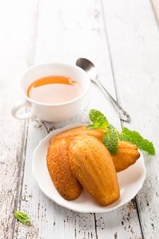 Homemade lemon cookies madeleine