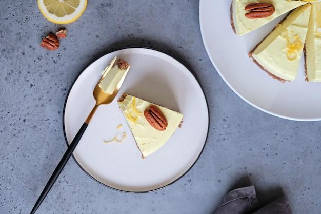 Homemade lemon raw vegan cake