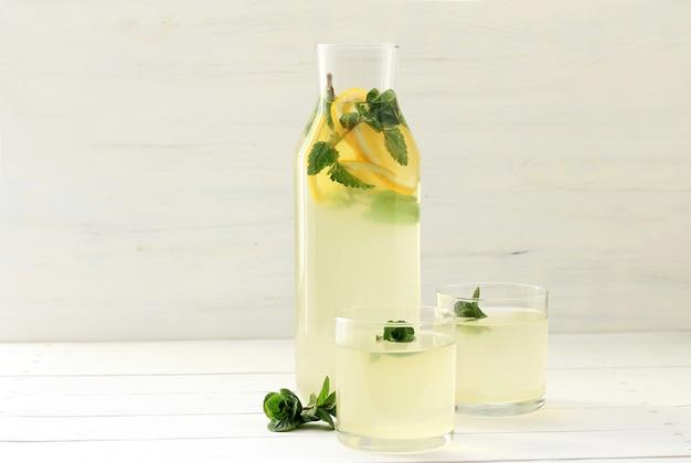 Homemade lemonade in bottle,