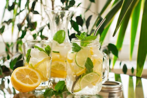 Homemade lemonade in mason jar