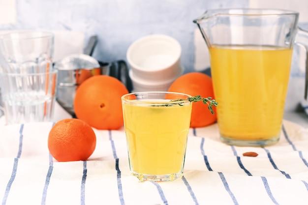 Homemade lemonade oranges, tangerines, raisins, cumin, dried apricots, honey