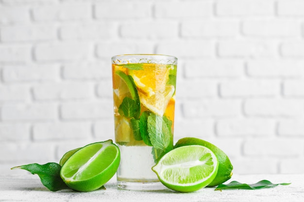 Homemade lemonade with lime and mint