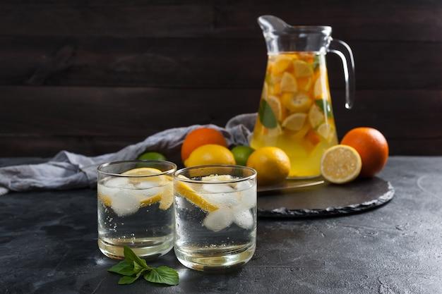 Домашний лимонад с мятой из лимонов и апельсинов