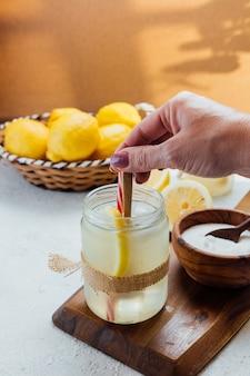 Homemade lemonade with sugar.