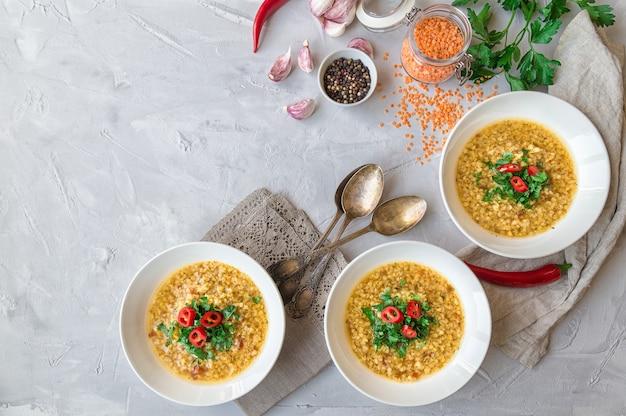 灰色のコンクリートの背景に材料を入れたボウルに自家製レンズ豆のスープ。健康的なベジタリアン料理。