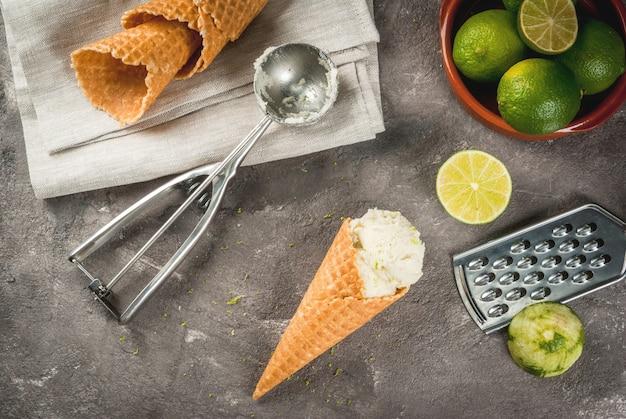 Homemade lime sorbet